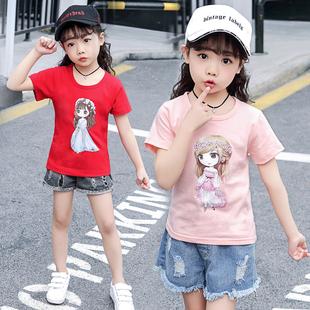 女童短袖t恤 纯棉夏季半袖中大童洋气体恤上衣儿童女夏装2019新款