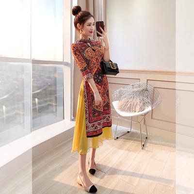汉服旗袍改良唐装2019春装新款民族风女装复古中国风旗袍式连衣裙