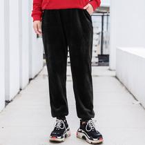 MsShe加大码女装2018新款冬装针织复合绒布加厚运动长裤M1843136