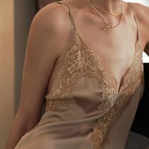睡裙家居服夏季短袖睡衣蕾丝可爱夏天绵绸公主大码薄款女士