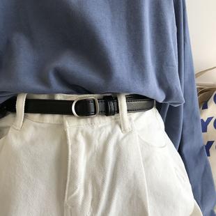 韩国东大门2019年新款 韩版 黑色小腰带无孔女学生扣皮带软不用打孔