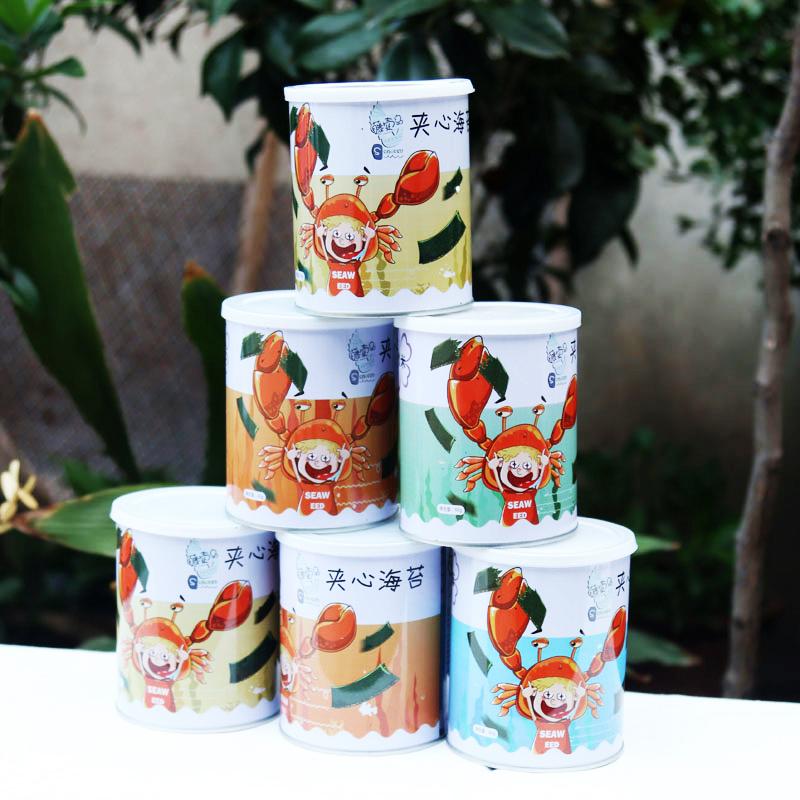 儿童休闲零食芝麻紫菜脆片 即食海苔 罐 40gx18 东哥东嫂夹心海苔脆