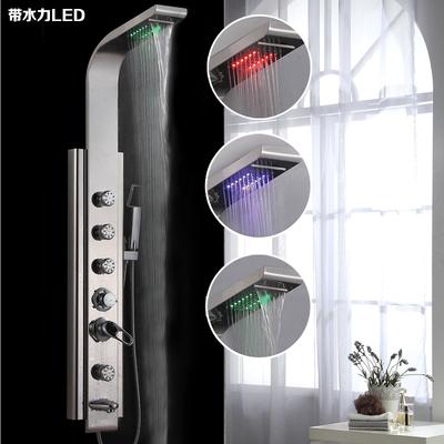 新款LED淋浴花洒套装挂墙式304不锈钢多功能按摩淋浴屏增压大喷头今日特惠