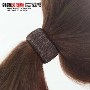 韩国进口代购正品 人造丝个性仿真发假发圆筒扎马尾发圈头绳皮筋