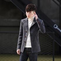 新款中长款韩版宽松高腰系带大衣帅气薄2018男风衣外套秋装大赖