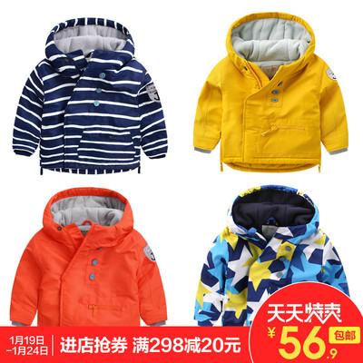 男童外套加绒加厚冬装儿童宝宝童装冲锋棉衣秋冬1岁3小童婴儿洋气