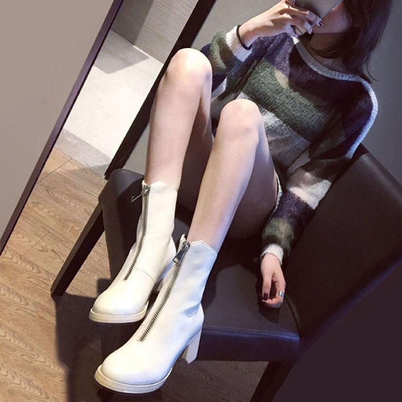 白色圆头高跟粗跟马丁靴倒靴前拉链短靴中筒机车靴骑士靴欧美靴子