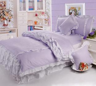 包邮 纯棉 四件套 斜纹 韩式 床裙式 粉色 紫色 公主床品 三件套