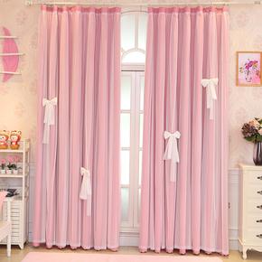 简约现代成品卧室落地窗小清新双层全遮光抖音粉色网红窗帘公主风