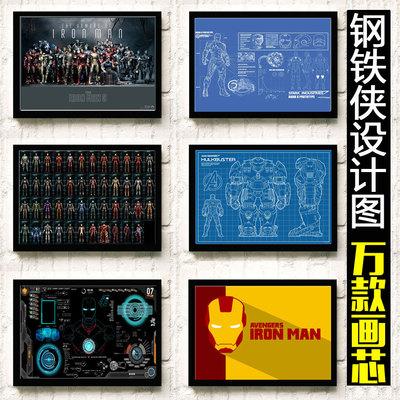 钢铁侠机甲盔甲设计图纸海报漫威巨幅超大电影墙贴墙壁画装饰挂画