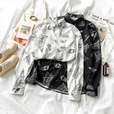 黑牛奶少女~秋装2018新款女装韩版复古港味趣味长袖印花衬衫上衣