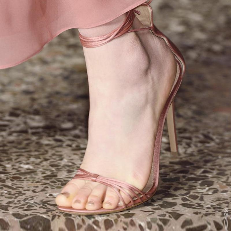 爬梯女鞋名媛风系带单鞋罗马绑带高跟鞋细跟凉鞋