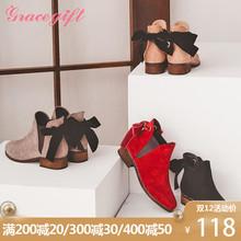 Grace gift短靴女粗跟切尔西靴短筒踝靴可爱后绑带蝴蝶结女靴子