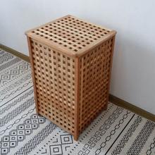 北欧风格楸木网格木箱纯实木储物箱带布袋收纳筐洗衣筐脏衣篮特价