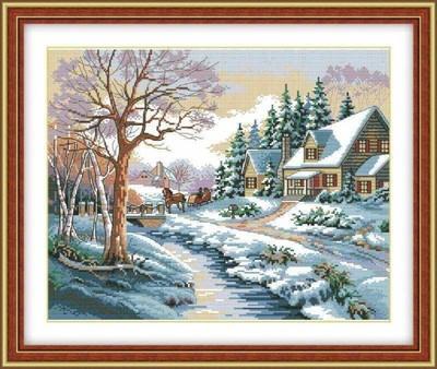蝶恋花正品十字绣雪景47*56客厅卧室新款画在哪买