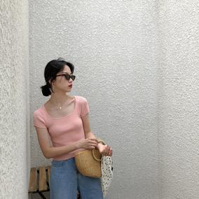 [MICHELLY.MO]复古小小方领纯色短款经典短袖针织T恤