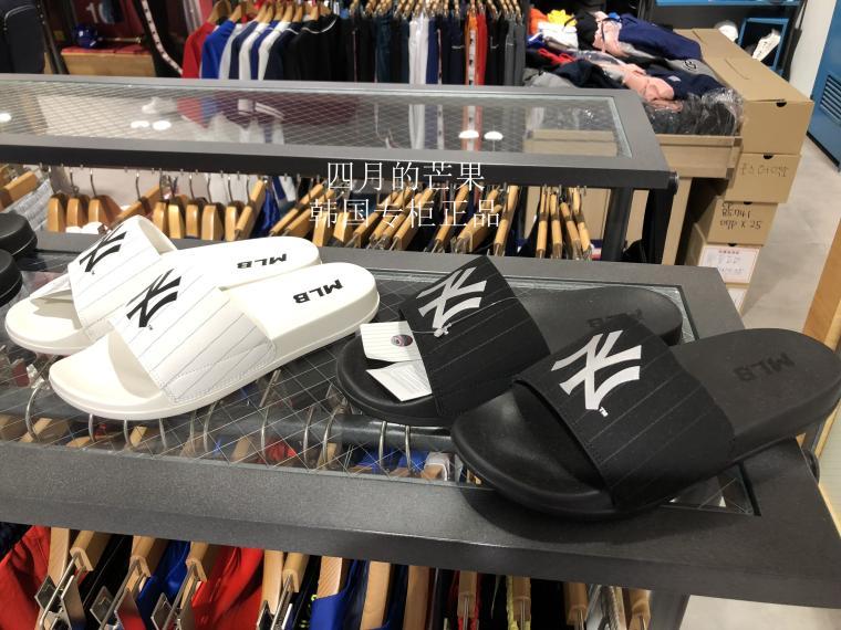 专柜正品MLB2018夏男女条纹拖鞋32SHH2811