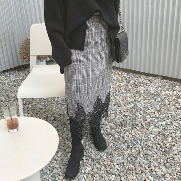 韩国进口正品女装 CANDYGLOW 2019春款 韩范优雅格纹花边半身裙