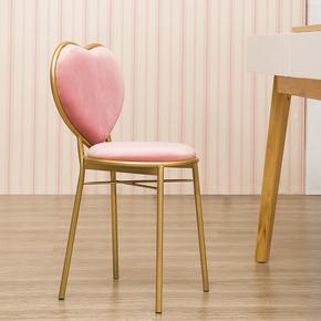 北欧金属靠背餐椅设计师休闲椅单人座椅子软椅梳妆椅公主椅化妆椅