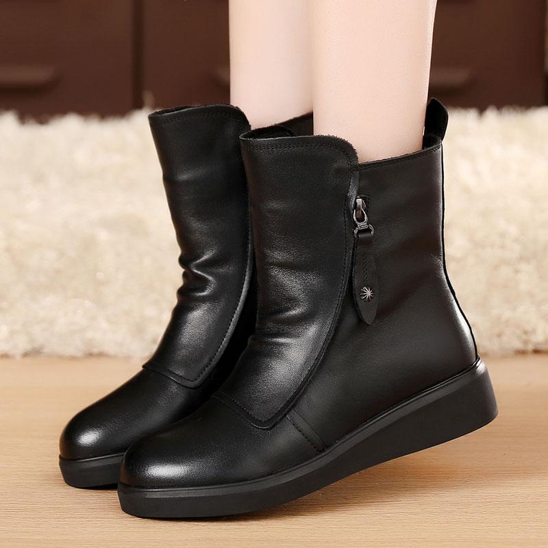 冬季女靴平跟短靴女真皮加绒棉鞋棉靴马丁靴女英伦风真皮靴子圆头