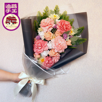 Hand bouquet simulation Rose Bouquet potted fabric non-weaving art handmade DIY gift making adult antique Material pack