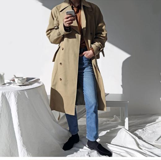 韩国东大门男装代购18秋冬 韩版纯色经典休闲百搭系扣风衣大衣