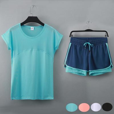 速干网眼透气镂空短袖T恤防走光运动跑步短裤瑜伽健身两件套装女