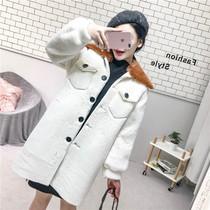 撞色毛绒绒外套女韩版单排扣双口袋中长款皮毛一体宽松chic大衣潮
