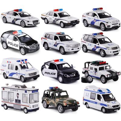 仿真合金警车110公安特警大号越野车小汽车模型玩具声光回力