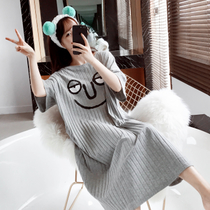 Summer loose large size nightdress Korean cute funny expression pajamas short-sleeved pit cotton fat MM home service
