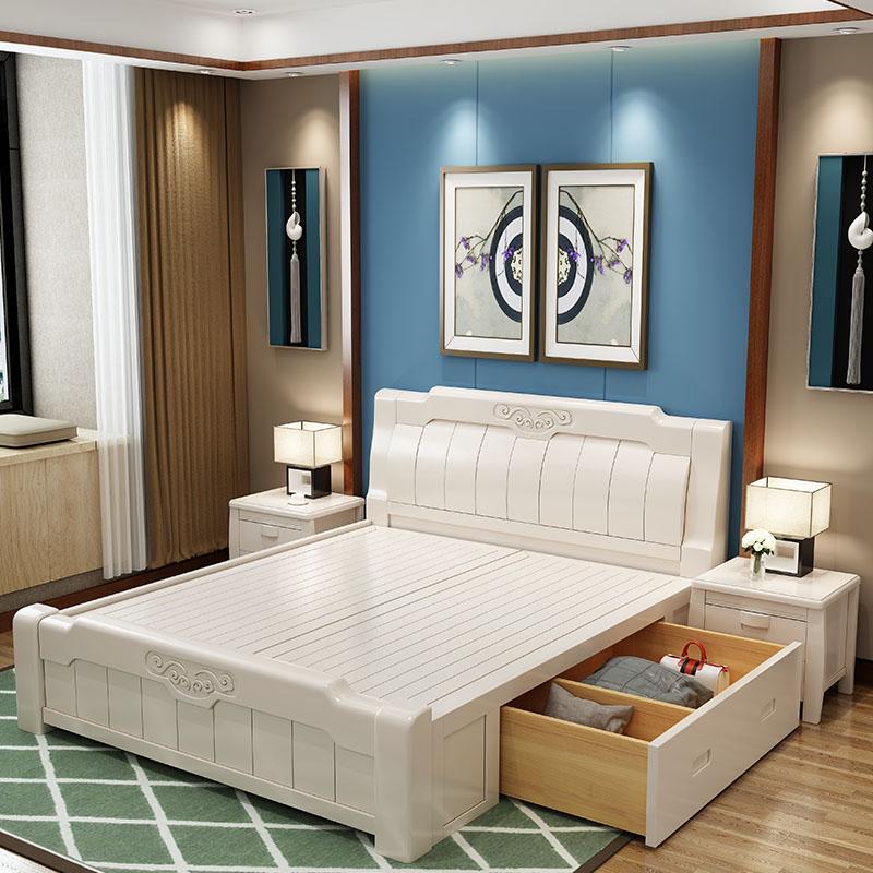 白色高箱婚床