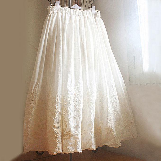 春夏季新款女复古文艺森女风棉布蕾丝刺绣花朵大摆半身裙长裙伞裙
