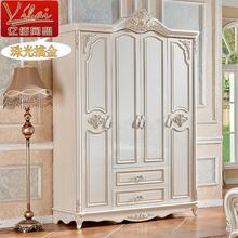 欧式衣柜床组合四门1.6米衣柜衣橱实木烤漆白色雕花定制木质衣柜