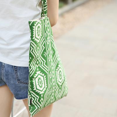 双层布艺印花单肩包休闲女包文艺手提布袋超市购物袋帆布折叠便携