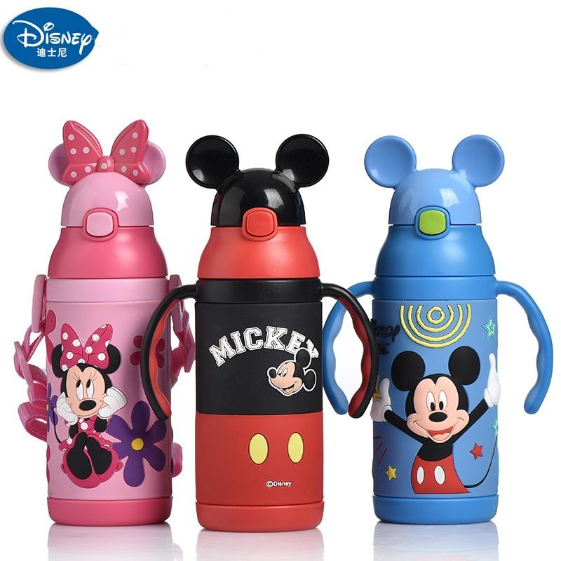 迪士尼儿童吸管保温杯宝宝小学生把手两用水壶米奇卡通杯子3440