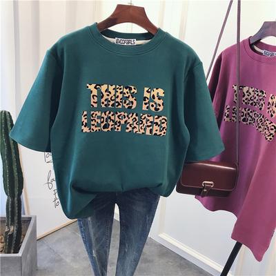 韩国东大门豹纹字母宽松显瘦加厚磨毛棉短袖秋冬打底衫t恤女上衣