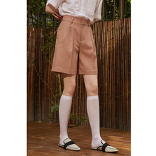 MeeLee MeeLab's original Retro High Waist pleated wide legs neutral shorts trousers