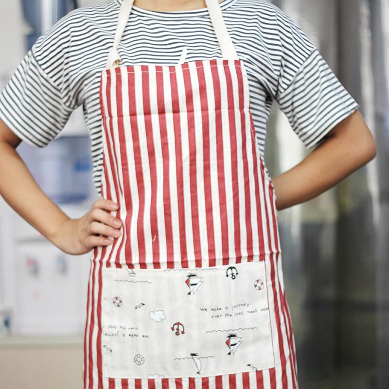 日本時尚棉布條紋廚房圍裙家居無袖簡約純棉圍腰圍兜日式工作服