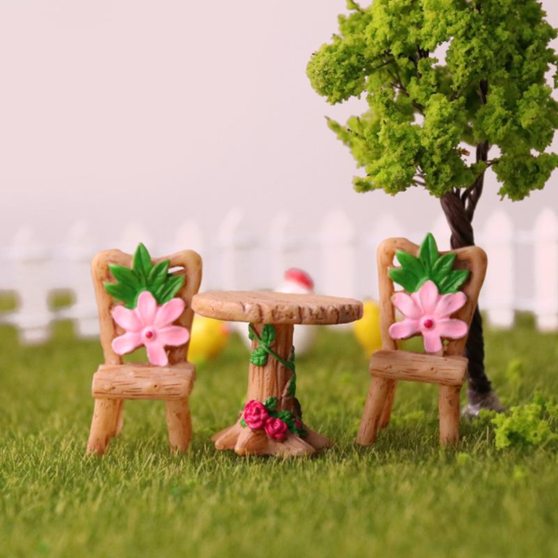 圆桌椅子摆件微景观多肉盆栽diy材料田园花朵靠背凳子创意装饰品