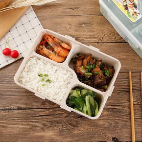 小麦秸秆便当盒分格冰箱食品保鲜盒长方形微波炉学生餐盒成人饭盒