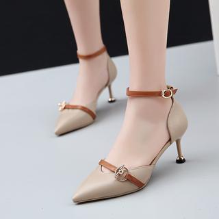 33-40性感优雅包头细跟拼色四季高跟鞋 一字带中空尖头女凉鞋女装
