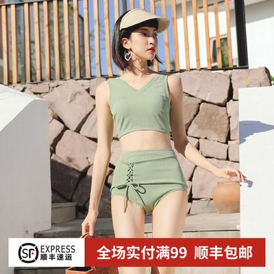 泳衣女分体平角高腰显瘦 韩国小清新学生泳装 小胸聚拢性感游泳衣