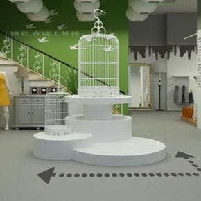 欧式铁艺鸟笼白色落地大号展厅摆件鸟笼客厅大堂装饰品鸟笼花架