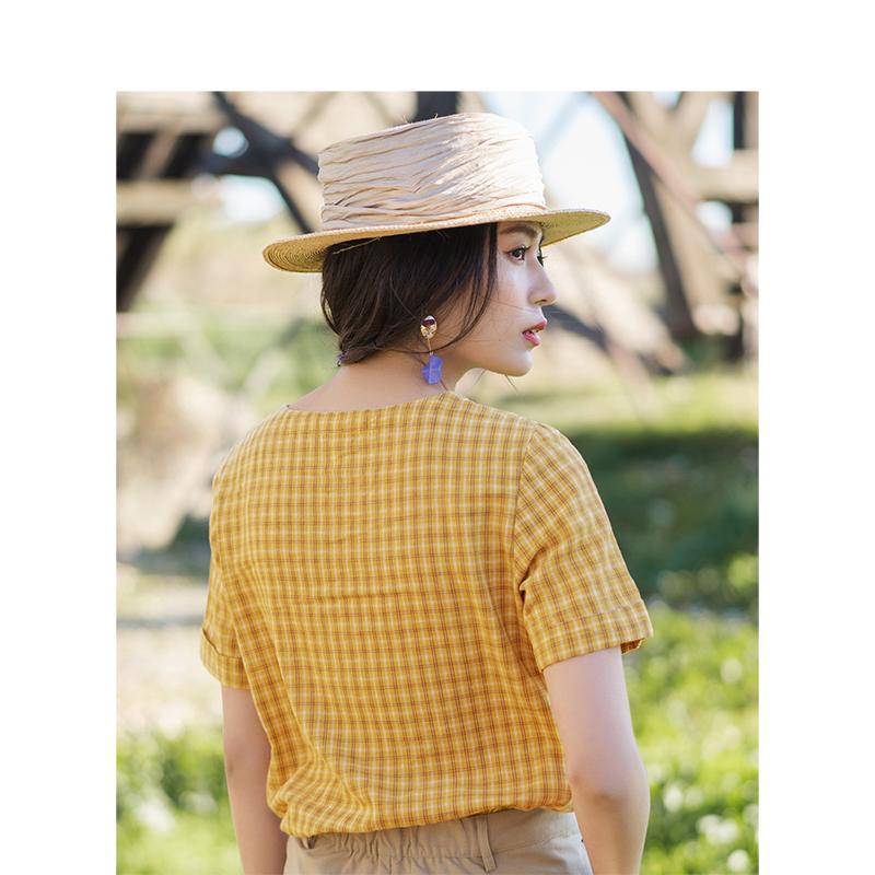 茵曼衬衣夏装V领清新复古文艺短袖格子衬衫亚麻棉上衣1892013069