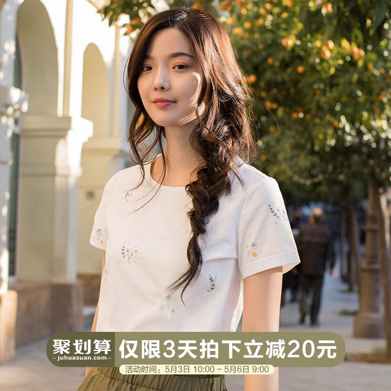 印花短款短袖t恤