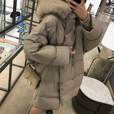 珊珊 网红羽绒服女中长款2018新款90绒连帽大衣毛领过膝时尚外套
