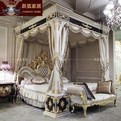 法式宫廷实木雕刻床别墅卧室金箔家具布艺公主床欧式大床奢华婚床官方旗舰店