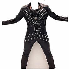 朋克机车修身个姓刺绣非主流摇滚男歌手演出服铆钉皮衣皮裤外套装