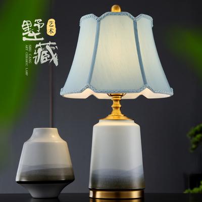 新中式台灯陶瓷装饰艺术现代设计师手绘简约全铜客厅床头卧室灯具