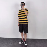 Homemade Les Shuai T neutral small yard loose Street Striped Polo short sleeve shirt